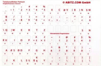 Tastaturaufkleber Polnisch - Vergleichstastatur Deutsch