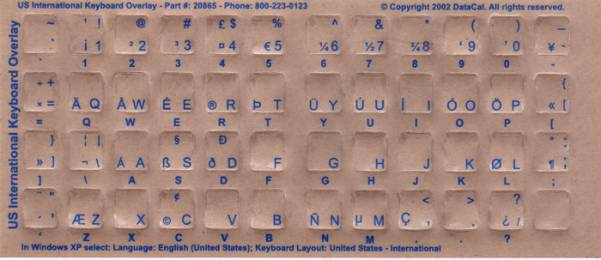 Tastaturaufkleber US-International_blau