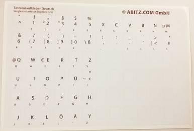 Tastaturaufkleber für Leer- oder fremdsprachige Tastaturen - Deutsch - Vergleichstastatur Englisch